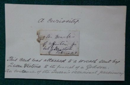 Antique Hand Signed Funeral Wreath Card Curiosity from Godmother Queen Victoria